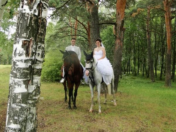 Свадьба на лошадях - В парке